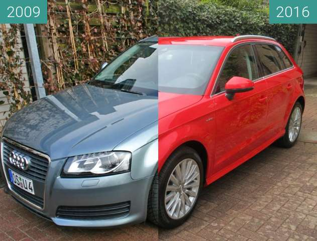 Before-and-after picture of Audi A3 between 2009-Mar-01 and 2016-Apr-29