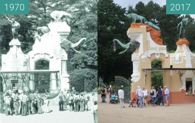 Before-and-after picture of Historischer Eingang zum Tierpark Hagenbeck between 1970 and 2017-Aug-02