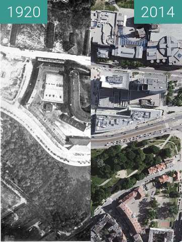Before-and-after picture of Bastion III Grolman/Stary Browar between 1920 and 2014