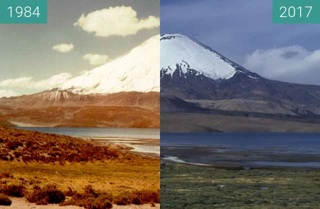 Before-and-after picture of VOLCAN PARINACOTA between 1984 and 2017