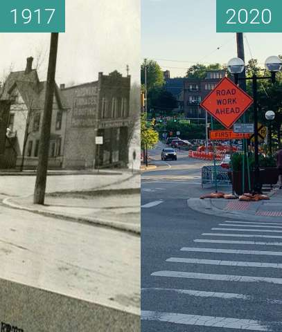 Before-and-after picture of West on Liberty Street from corner of Ashley St between 04/1917 and 2020-Jul-11