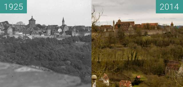 Before-and-after picture of Rothenburg ob der Tauber - 1930/2014 between 1925 and 2014-Feb-07