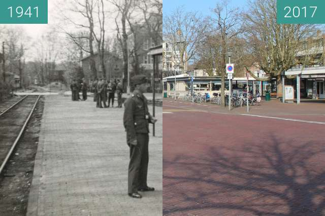 Before-and-after picture of Station Bergen between 1941 and 2017