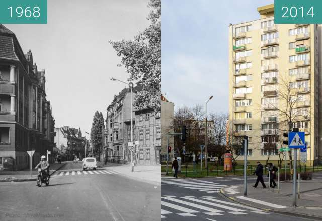 Before-and-after picture of Ulica Jeżycka between 1968-Aug-12 and 2014-Aug-12