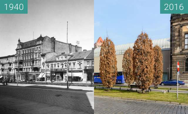 Before-and-after picture of Marcinkowski Alley, Posen between 1940 and 2016