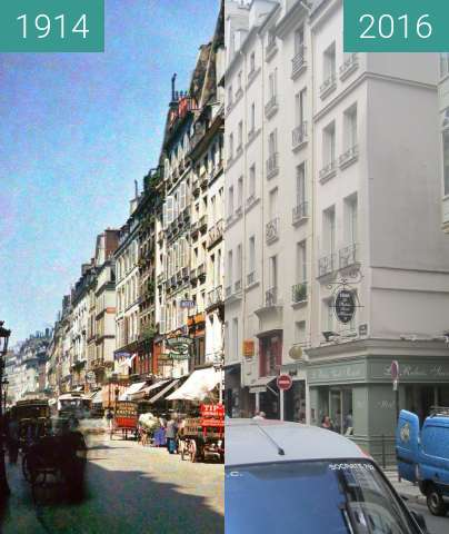 Before-and-after picture of Rue Saint Honoré between 1914 and 2016-Jun-24