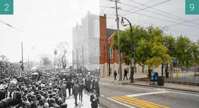 Before-and-after picture of Ebenezer Baptist Church between 1968-Apr-09 and 2021-Sep-03
