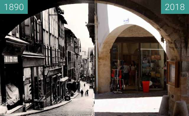 Before-and-after picture of Villefranche de rouergue between 1890 and 2018