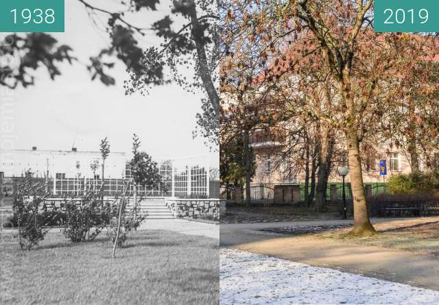 Before-and-after picture of Ulica Serafitek, park Kurpińskiego between 1938 and 2019-Jan-20