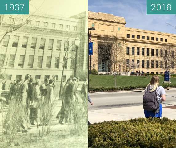 Before-and-after picture of Strong Hall between 1937 and 2018-Apr-17
