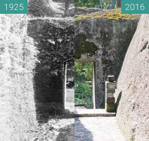 Before-and-after picture of Entrance to Pura Gunung Kawi between 1925 and 2016-Jun-15