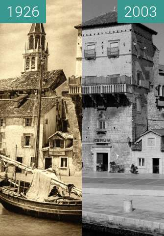 Before-and-after picture of Trogir, Riva, 1926, photo: Kurt Hielscher between 1926 and 2003-Apr-23