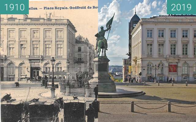 Before-and-after picture of Place Royale, Brussels between 1910 and 2019-Jun-06
