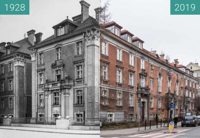 Before-and-after picture of Ulica Słowackiego, Dom Tramwajarza between 1928 and 2019-Mar-07