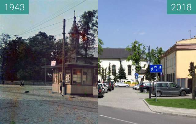 Before-and-after picture of Tuszyn (Tuschin) St. Vitalis Church between 1943 and 2018-Apr-29