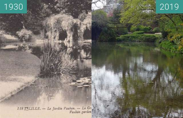 Before-and-after picture of Jardin Vauban between 1930 and 2019-Apr-06