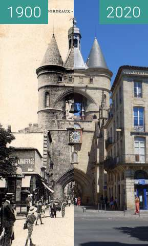 Before-and-after picture of Bell tower of Bordeaux between 1900 and 07/2020