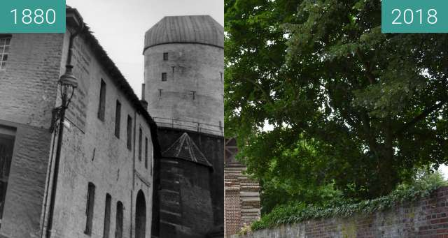 Before-and-after picture of Kempen, Mühle an der ehemaligen Stadtmauer between 1880 and 2018-Jul-10