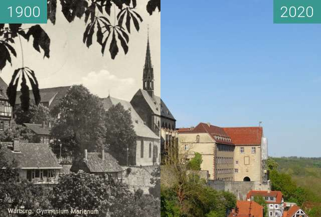 Before-and-after picture of Marianum School Warburg between 1900 and 2020-Apr-26