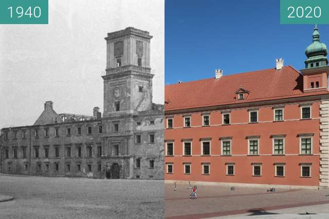 Vorher-Nachher-Bild von Royal Castle, Warsaw zwischen 1940 und 2020