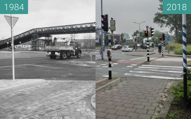 Before-and-after picture of Nieuwe Schermerweg and bailey bridge between 1984 and 2018-May-30