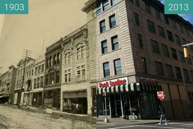 Before-and-after picture of Main Street at Ellison Then and Now between 1903 and 2013-Apr-02