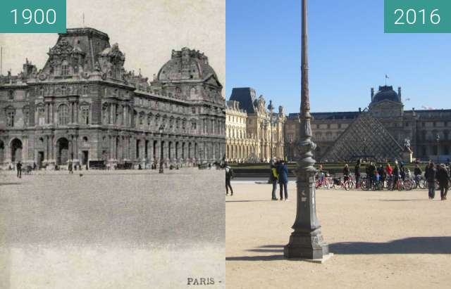 Before-and-after picture of Louvre (Cour du Carousel) between 1900 and 2016-Feb-16