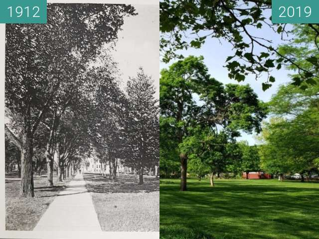 Before-and-after picture of City Park / South Park between 1912 and 2019-May-02