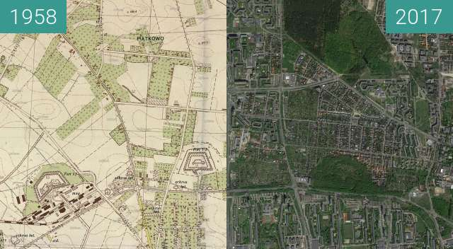 Before-and-after picture of Poznań 1958 - Piątkowo i Forty between 1958 and 2017-May-12