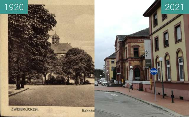 Before-and-after picture of Bahnhof Zweibrücken between 1920 and 2021-Jan-02