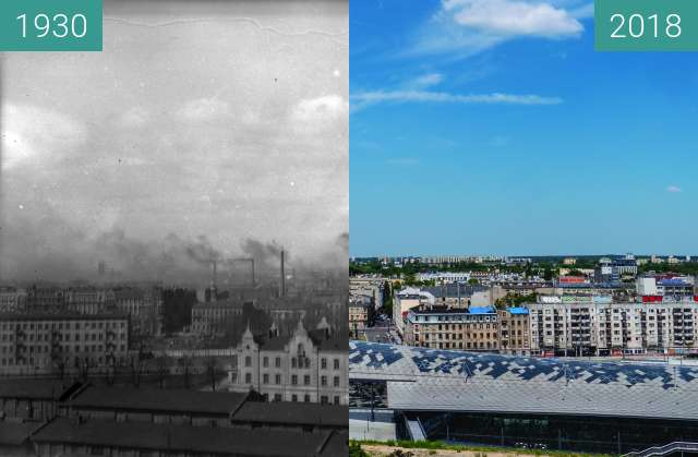 Before-and-after picture of View of Lodz, Poland between 1930 and 2018-May-30