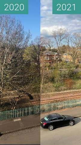 Before-and-after picture of Exactly a year in Pollokshields between 2020-Apr-15 and 2021-Apr-15