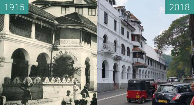 Before-and-after picture of The Queen's Hotel in Kandy between 1915 and 2018-Apr-22