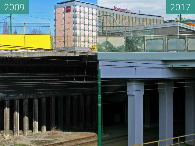Before-and-after picture of Rondo Kaponiera. Hotel Mercure. Poznań. between 2009 and 2017