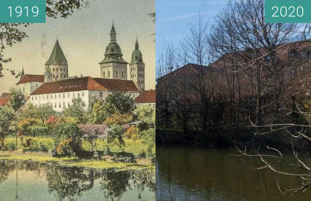Before-and-after picture of Osnabrück. Der Dom between 05/1919 and 03/2020