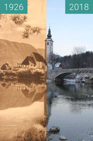 Before-and-after picture of Cerkev Sv. Janeza Krstnika, Ribčev Laz, Slovenia between 1926 and 2018-Feb-15