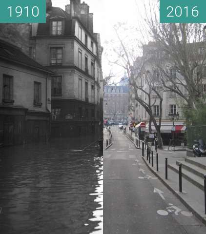 Before-and-after picture of Rue du Haut Pavé (Flood) between 01/1910 and 2016-Jan-19