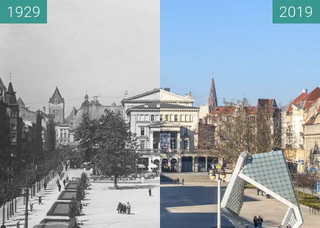 Before-and-after picture of Plac Wolności z balkonu hotelu Bazar between 1929 and 2019-Feb-16