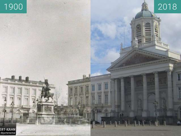 Before-and-after picture of Place Royale between 1900 and 2018-Apr-01