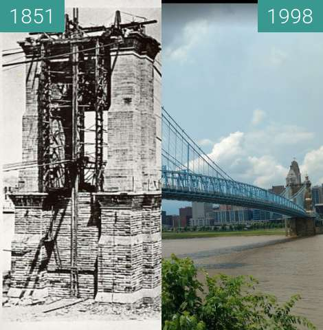 Before-and-after picture of Roebling Bridge between 1851 and 1998
