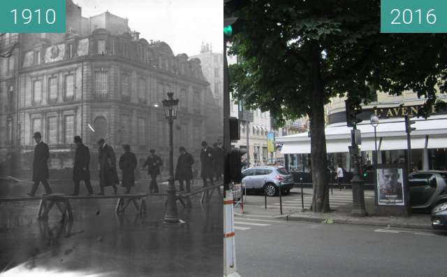 Before-and-after picture of Avenue Montaigne (Great Flood) between 01/1910 and 2016-Jun-25
