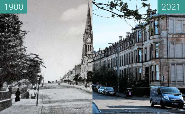 Before-and-after picture of Knowe Terrace between 1900 and 2021-May-02