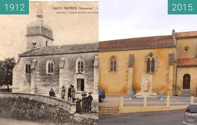 Before-and-after picture of Vayres's church between 1912 and 2015-Feb-23