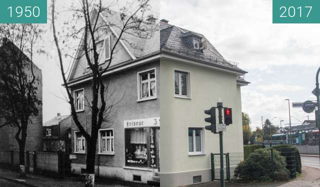 Before-and-after picture of Bad Homburg Gonzenheim, Frankfurter Landstr 104 between 1950 and 2017-Oct-03