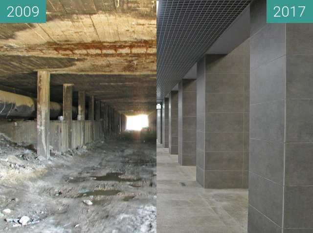 Before-and-after picture of Kaponiera Poznań. Stacja tramwajowa PST. between 2009 and 2017