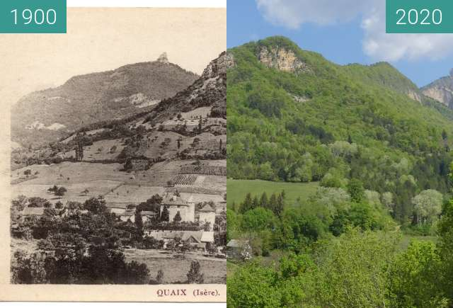 Before-and-after picture of Quaix en Chartreuse - Le Château between 1900 and 2020-Apr-23
