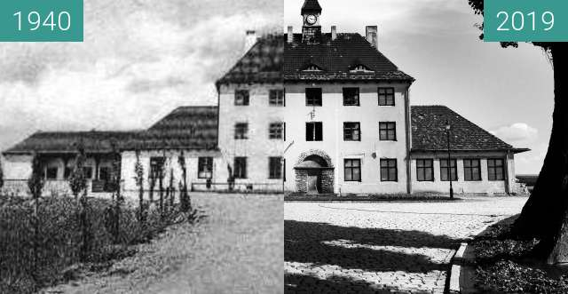 Before-and-after picture of Railway station in Zalesie Śląskie. between 1940 and 2019-Jul-25