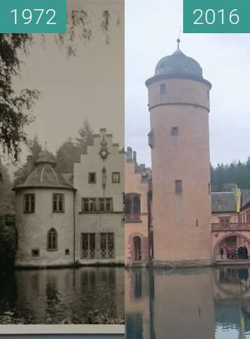 Before-and-after picture of Wasserschloss in Mespelbrunn between 1972-Apr-12 and 2016-Mar-27