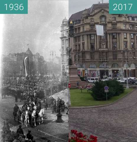 Before-and-after picture of Military parade 1936 between 1936 and 2017