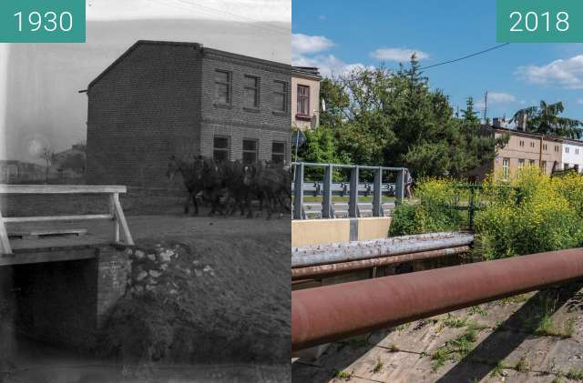 Before-and-after picture of Dubois Street, Lodz, Poland between 1930 and 2018
